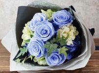 プリザーブドフラワー バラの花束/ブルー