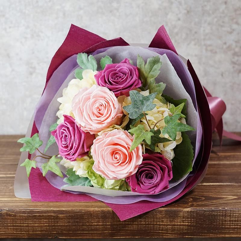 プリザーブドフラワー バラの花束/ピンク